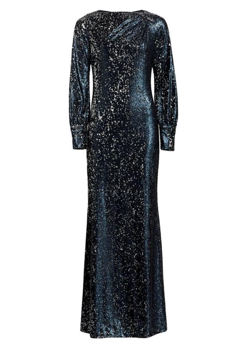 Teri Jon Embellished Long-Sleeve Sequin Dress