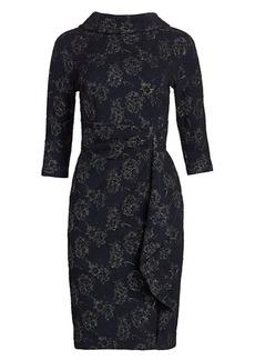 Teri Jon Embellished Metallic Jacquard Highneck Dress