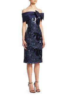 Teri Jon Embellished Off-The-Shoulder Sheath Dress