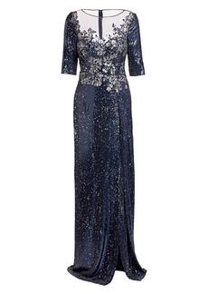 Teri Jon Embellished Sequin Slit Gown
