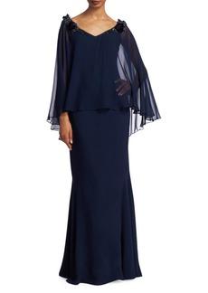 Teri Jon Embellished Silk Chiffon Cape Sleeve & Crepe Gown