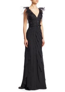 Teri Jon Embellished Tiered Chiffon Gown