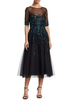 Teri Jon Embellished Tulle Midi Dress