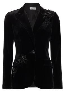 Teri Jon Embellished Velvet Jacket