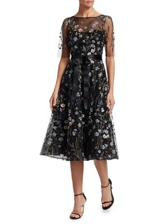 Teri Jon Embroidered Floral Fit-&-Flare Dress