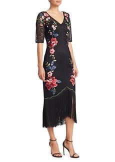 Teri Jon Embroidered Fringe Midi Dress
