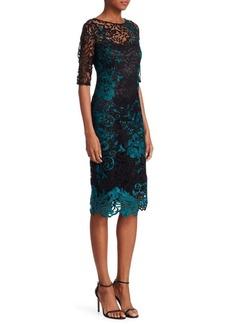 Teri Jon Embroidered Knee-Length Cocktail Dress