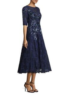 Teri Jon Embroidered Lace Dress