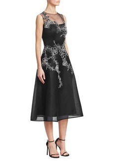 Teri Jon Embroidered Sleeveless A-Line Dress