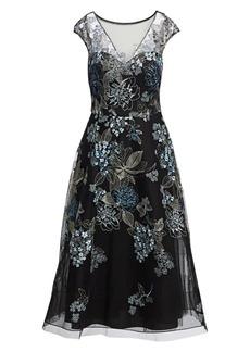 Teri Jon Embroidered Tulle Cocktail Dress