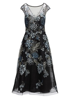 Teri Jon Embroidered Tulle Cocktail Dress