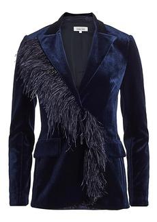 Teri Jon Feather Trimmed Velvet Blazer