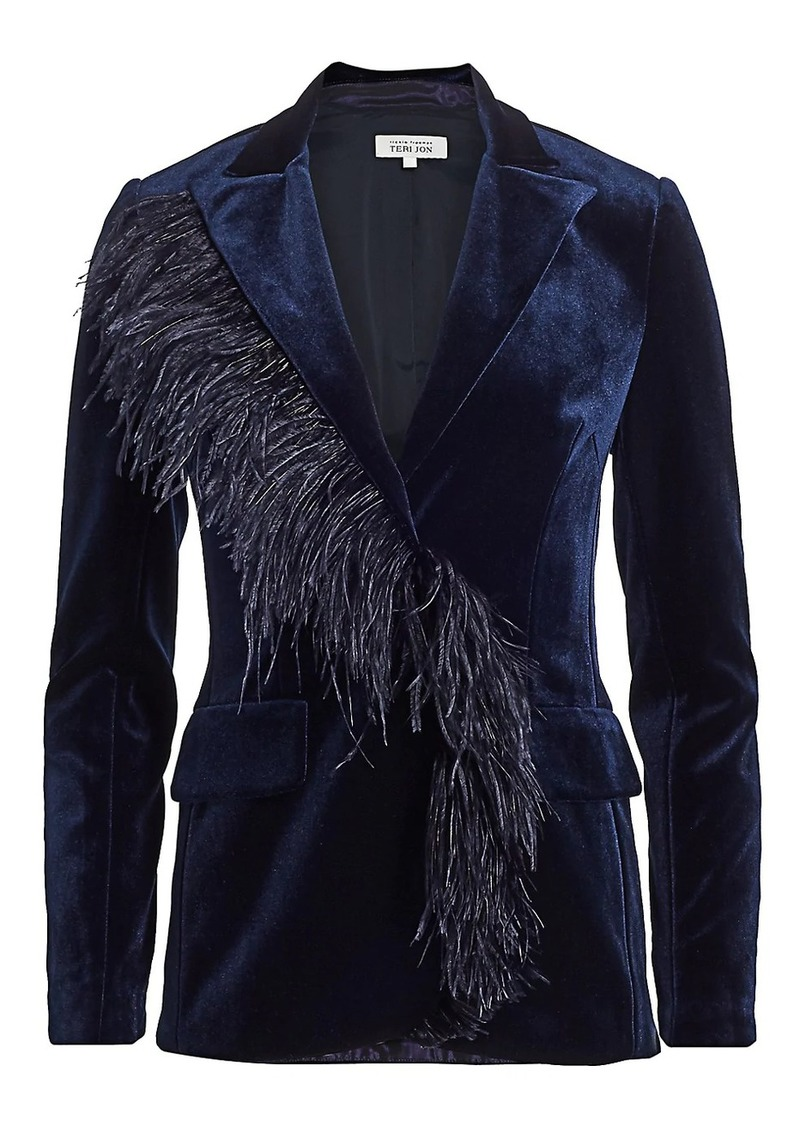 Teri Jon Feather Trimmed Velvet Blazer