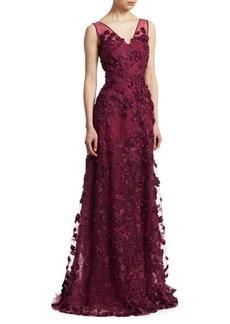 Teri Jon Floral Appliqué Gown
