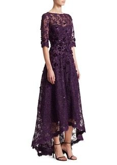 Teri Jon Floral Appliqué Lace High-Low Gown