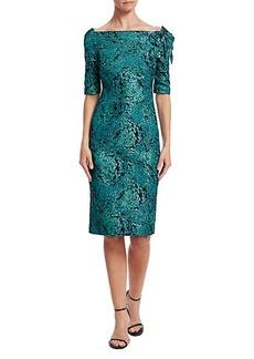 Teri Jon Floral Appliqué Metallic Jacquard Dress
