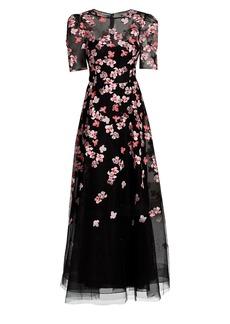 Teri Jon Floral Applique Tulle Gown
