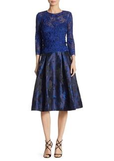 Teri Jon Floral Appliqued Jacquard Dress