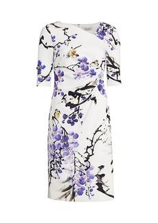 Teri Jon Floral Asymmetric Neckline Dress