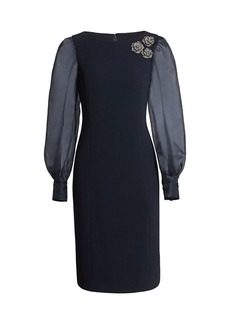 Teri Jon Floral Broach Silk Organza Puff-Sleeve Sheath Dress