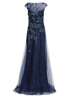 Teri Jon Floral Embroidered Tulle Gown