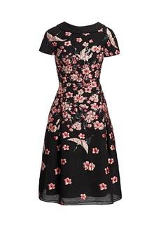 Teri Jon Floral Jacquard A-Line Cap-Sleeve Dress