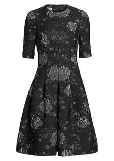 Teri Jon Floral Jacquard A-Line Dress