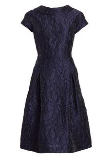 Teri Jon Floral Jacquard Cap Sleeve A-Line Dress