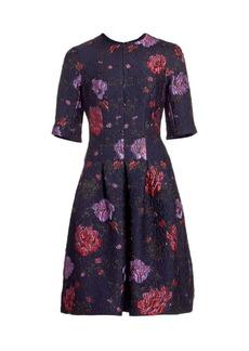 Teri Jon Floral Jacquard Cocktail Dress