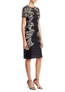 Teri Jon Floral Jacquard Cocktail Sheath Dress