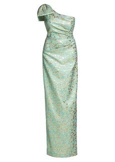 Teri Jon Floral Jacquard One-Shoulder Column Gown