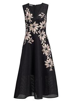 Teri Jon Floral Jacquard Surplice A-Line Dress