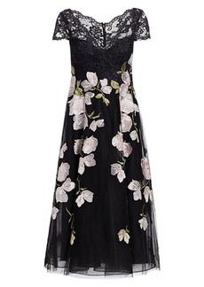 Teri Jon Floral Lace Tulle Dress