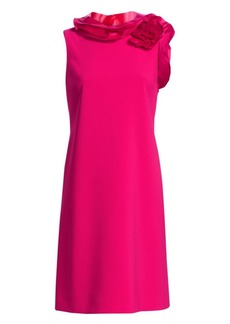 Teri Jon Floral Ruffle Neck Shift Dress