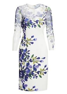 Teri Jon Floral Three-Quarter Sleeve Scuba Dress