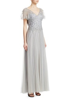 Teri Jon Flutter Sleeve Gown