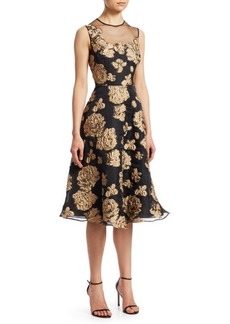 Teri Jon Illusion Bodice Jacquard Dress