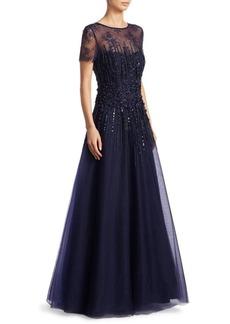 Teri Jon Illusion Floor-Length Tulle Gown