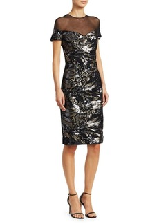 Teri Jon Illusion Mesh Sequin Midi Dress