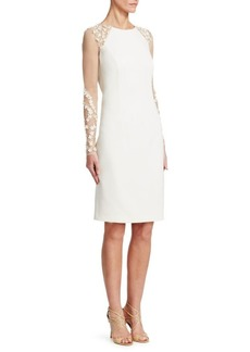 Teri Jon Illusion-Sleeve Sheath Dress