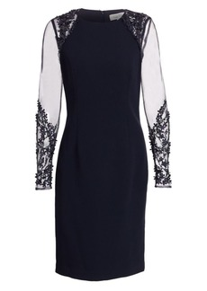 Teri Jon Illusion-Sleeve Sheath Dress