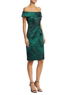 Teri Jon Jacquard Animal Print Off-The-Shoulder Cocktail Dress