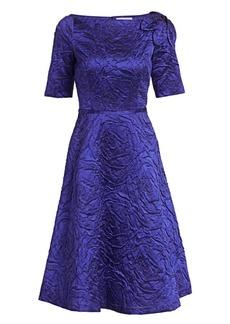 Teri Jon Jacquard Bateau Neck A-Line Dress