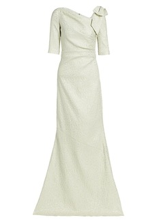 Teri Jon Jacquard Bow Metallic Gown