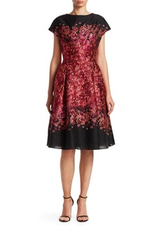 Teri Jon Jacquard Cap-Sleeve Cocktail Dress