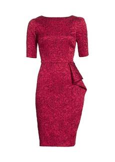 Teri Jon Jacquard Floral Elbow-Sleeve Sheath Dress