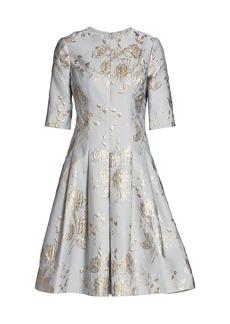 Teri Jon Jacquard Midi Dress