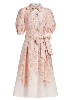 Teri Jon Jacquard Shirt Dress