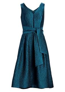 Teri Jon Jacquard V-Neck Sleeveless Belted A-Line Dress