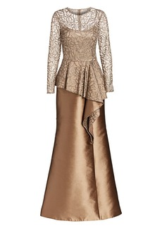 Teri Jon Lace & Gazar Long-Sleeve Glitter A-Line Drape Silk Tulle Gown